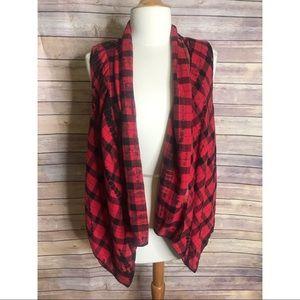 Elevenses Roxanne Red Buffalo Plaid Tie Dye Vest
